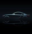 blue light silhouette sport car vector image