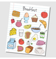 breakfast doodles lined paper colored vector image