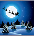xmas holiday background with flying santa claus vector image