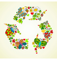 Springtime green recycle icon vector image