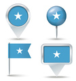 Map pins with flag of Somalia vector image