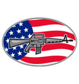 Armalite M-16 Colt AR-15 assault rifle flag vector image