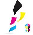 Flying paper CMYK color design vector image