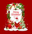 merry christmas santa greeting card vector image