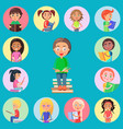 small icons with read children on blue background vector image