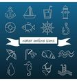 water outline icons vector image