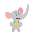 cute proud elephant character champion wearing vector image