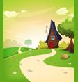 fairy house inside spring landscape vector image