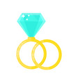 2 beauty wedding ring with diamond vector image