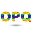triangular letters opq vector image