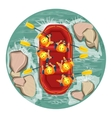 rafting on the river top view vector image