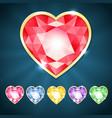 Beautiful diamond hearts vector image