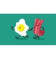 cartoon eggs and bacon are running somewhere vector image