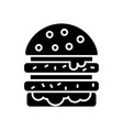 cheeseburger icon black sign vector image