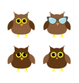 Cute owl set Big eyes sunglasses Icons on white vector image