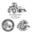 set of logos with bulldozer vector image