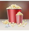 two buckets of popcorn vector image