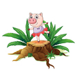 A tree with a female pig vector image vector image