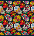 seamless pattern with sugar skulls and roses dead vector image