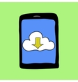 Doodle style tablet with cloud vector image