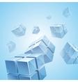 Flying blue transparent cubes background vector image
