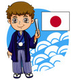 japanese boy with flag vector image