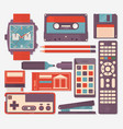 retro equipments accessories and things icons set vector image