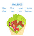 cartoon shawarma menu ingredients doner fastfood vector image
