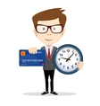 Businessman with credit card and a clock vector image
