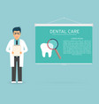doctor with medical clipboard in hands tooth vector image