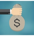 Hand with money bag vector image