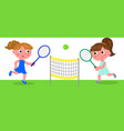 young cartoon woman playing tennis vector image