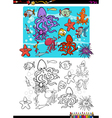 sea life group coloring page vector image vector image