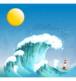 A big wave with a tower vector image vector image
