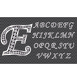 Silver alphabet with diamonds letters from A to Z vector image