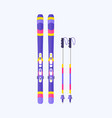 pairs of skis and sticks poles flat isolated vector image