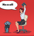 pop art angry business woman throwing laptop vector image vector image