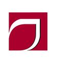 Red leaf frame logo vector image