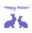 Silhouette of two Easter bunny rabbits vector image