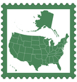 USA map on stamp vector image vector image