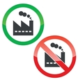 Factory permission signs set vector image