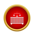 Baby cot with toy icon simple style vector image