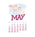 calendar for may 2 0 1 8 hand drawn vector image