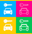 car key simplistic sign four styles of icon on vector image
