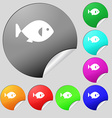 fish icon sign Set of eight multi colored round vector image