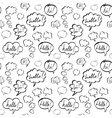 Hello and Hi Speech Bubbles Seamless Pattern vector image