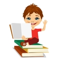 little boy showing an open book vector image