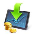 Tablet coins arrow diagram vector image
