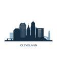 cleveland skyline monochrome silhouette vector image