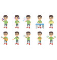 little caucasian boy set vector image